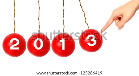 GO to New Year 2013 ;Christmas balls on white background - stock photo