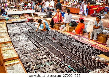 Goa, India  - December 17, 2008: showcases with jewelry on the street flea market - stock photo