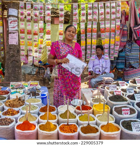 GOA, INDIA - JANUARY 8: Indian woman selling spices at market on January 8, 2013 in Goa, India. - stock photo