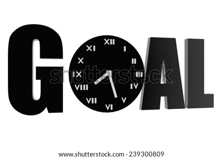 Goal and clock symbols - stock photo