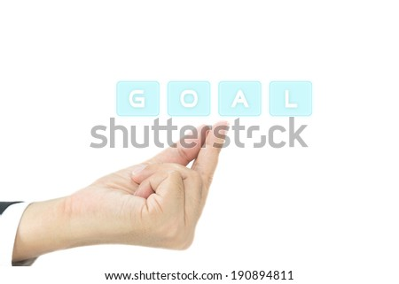 Goal concept on finger in white background