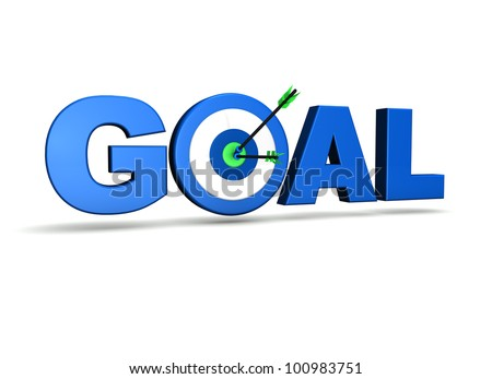 Goal concept with target and two arrows on green centre. On white background. - stock photo