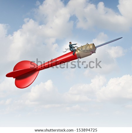 Goal leadership and focused management business concept as a businessman on a flying red dart guiding and steering the direction using a harness towards a planned target career and company success. - stock photo