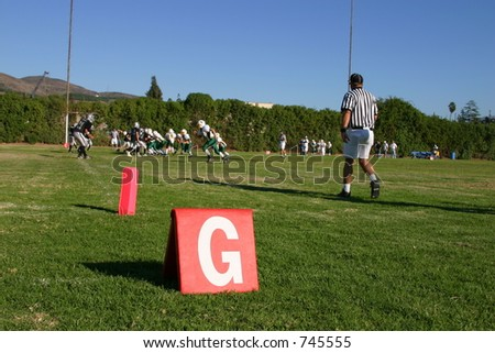 Goal Line Marker and Referee - stock photo