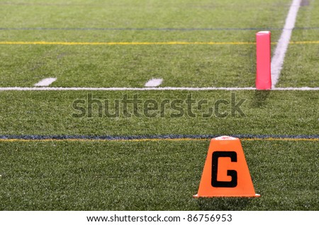 Goal Line on American Football Field at Night - stock photo