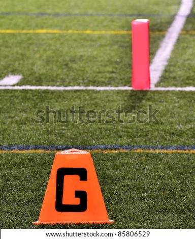 Goal Line on American Football Field with Pylon - stock photo