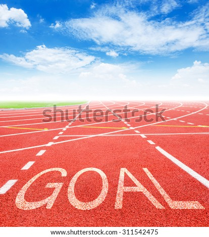 Goal on red racing track with blue sky. 2016 Goals concept.