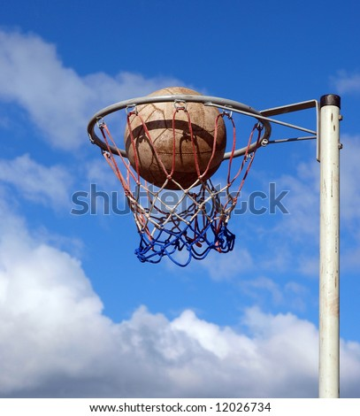 Goal post above the clouds with a perfect goal being scored - stock photo