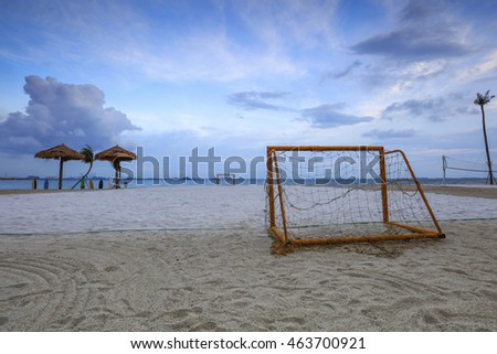 Goal post at nature beach, Forest City, Johor, Malaysia