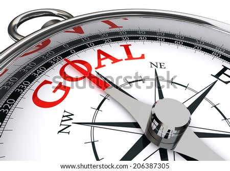 goal red word on conceptual compass isolated on white background
