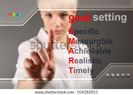 Goal setting concept - business woman touching screen
