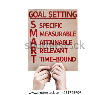 Goal Setting - SMART card isolated on white background - stock photo