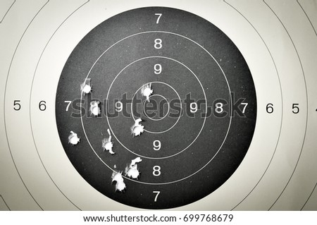 Goal setting with target, objectives and planning concept, top view, You can make a great target of business like a bullet target