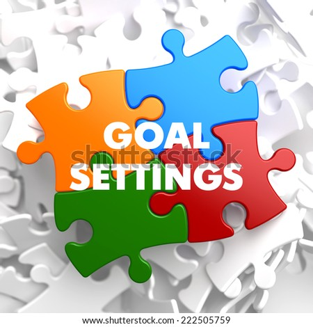 Goal Settings on Multicolor Puzzle on White Background. - stock photo