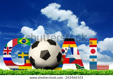 Goal. soccer world flags - stock photo