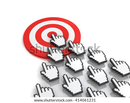 Goal target concept many hand cursors mouse clicking in the center of the red dart board or target on white background with reflection. 3D rendering. - stock photo