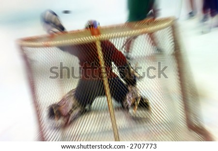 Goalie glove save, motion blur - stock photo
