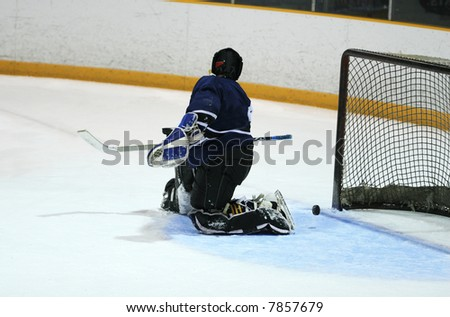 Goalie in generic white jersey with generic goalie equipment allows the puck to sneak through and allows a goal