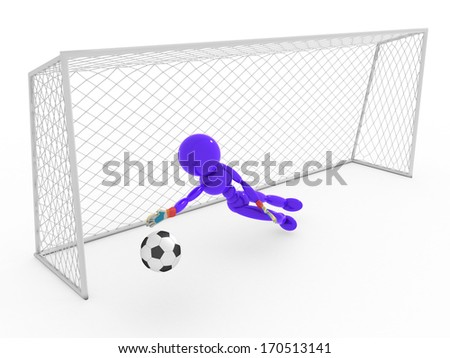 Goalkeeper catches a soccer ball  - stock photo