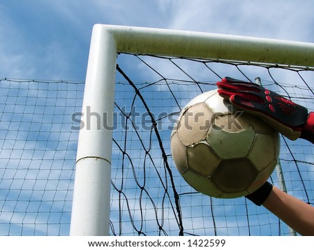 goalkeeper,hands, gloves, football, sky, blue, business, concept - stock photo