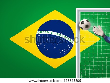 goalkeeper in action in brazil trying to defend - stock photo