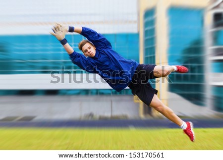 Goalkeeper jumping - stock photo