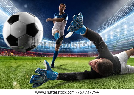 Goalkeeper kicks the ball in the stadium