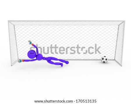 Goalkeeper misses a soccer ball  - stock photo