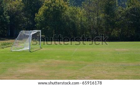 Goals at a neighborhood soccer field - stock photo