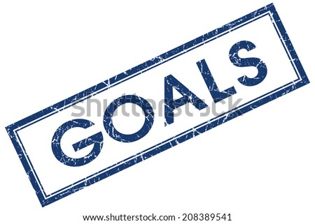 Goals blue square grungy stamp isolated on white background