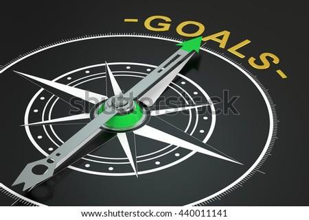 Goals compass concept, 3D rendering - stock photo