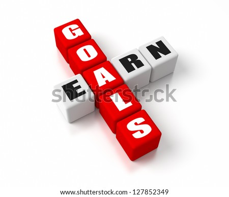 Goals Earn crosswords. Part of a business concepts series.