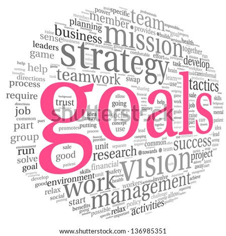 Goals in project and management concept in word tag cloud - stock photo