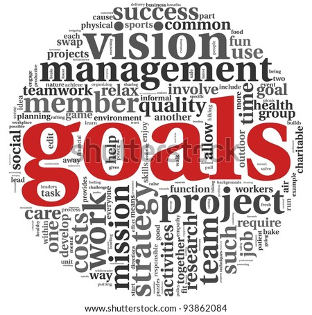 Goals in project and management concept in word tag cloud on white background - stock photo