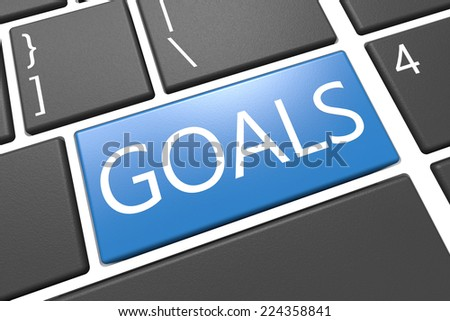 Goals - keyboard 3d render illustration with word on blue key