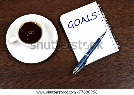 Goals message and coffee