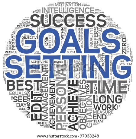 Goals setting concept in word tag cloud on white background - stock photo