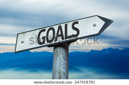 Goals sign with sky background - stock photo