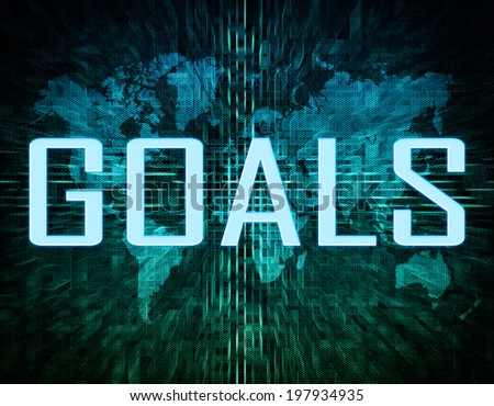 Goals text concept on green digital world map background