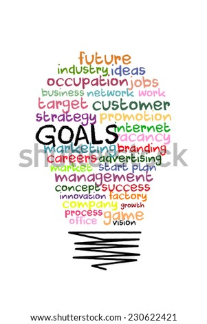 goals word background on light bulb shape with colorful words - stock photo