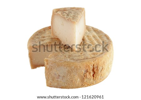 goat cheese wedge game isolated on white with clipping path - stock photo