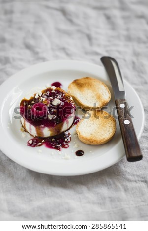 goat cheese with berry sauce, balsamic vinegar and nuts - delicious appetizers for wine  - stock photo