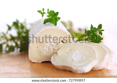 Goat cheese with fresh thyme - stock photo