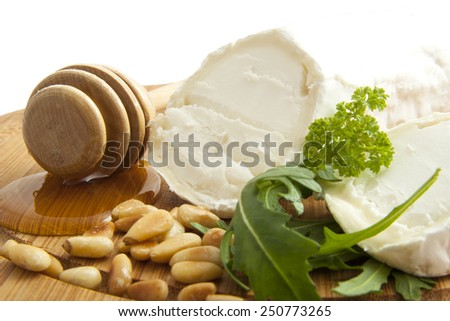Goat cheese with honey and herbs