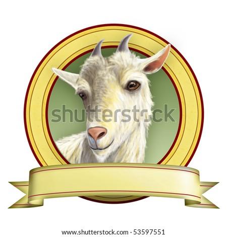 Goat illustration suitable for food labels. Digital illustration. - stock photo