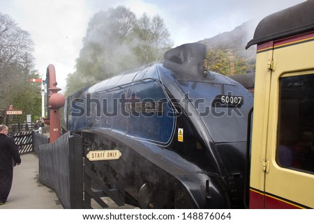 GOATHLAND, ENGLAND - MAY 20: Sir Nigel Gresley Class A4 4498 locomotive, one of only six remaining on May 20, 2013 in Goathland, England