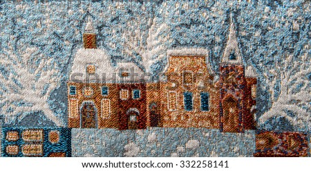 gobelin tapestry fragment close-up with winter  theme background   - stock photo