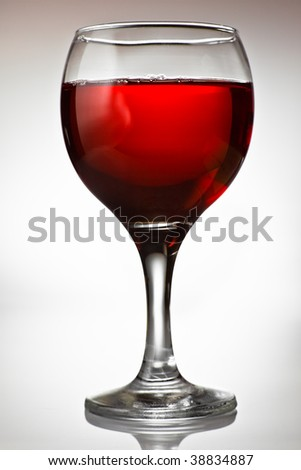 Goblet filled with red wine