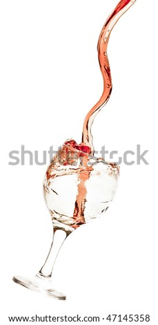 Goblet pouring with a splashing cola - isolated on white - stock photo