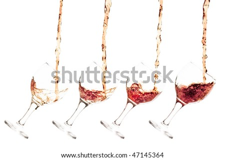 Goblet pouring with a splashing cola - sequence set of 4 shots - isolated on white - stock photo